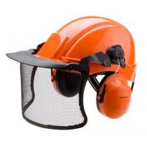 Combinación forestal Casco G2000 naranja, arnés estándar, banda sudor piel, H31 y V4C (10 combinaciones)