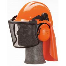Combinación forestal Casco G3000 ventilado naranja orejera H31 y pantalla V5C con arnés G3000NOR31V5C (10 combinaciones)