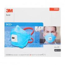 3M™ Aura™ Mascarilla FFP3 NR D c/válvula, azul, sin grapas 9432+ (120 mascarillas)