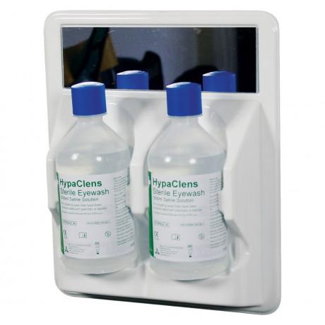 Estación mural con espejo 2 botellas lavaojos de emergencia 500 ml lesiones mecánicas - Solución salina estéril al 0,9% - A11