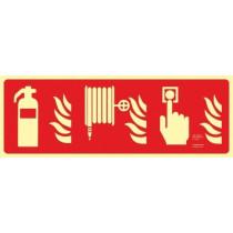 Señal Extintor - Pulsador de Alarma - Boca de Incendio (Sin Texto) Luminiscente 210 x 600 mm