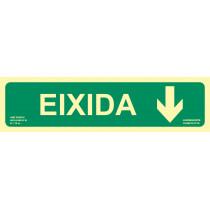 Señal Eixidia Flecha Abajo Luminiscente 402 x 105 mm