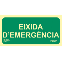 Señal Eixidia D'Emergencia Luminiscente 300 x 150 mm