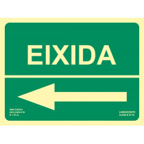 Señal Eixidia Flecha Abajo Izquierda Luminiscente 300 x 224 mm