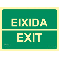 Señal Eixidia / Exit Luminiscente 300 x 224 mm