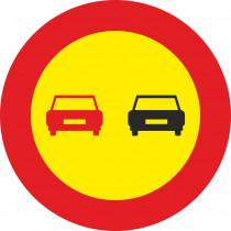 Señal Vial Metálica Adelantamiento Prohibido Diámetro 500 mm
