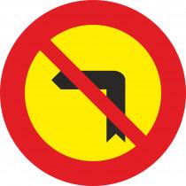 Señal Vial Metálica Giro A La Izquierda Prohibido Diámetro 500 mm