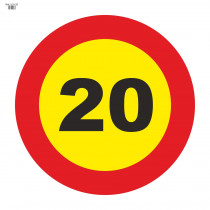 Señal Vial de Bolsa 20 Km/h Velocidad Máxima 700 x 700 mm