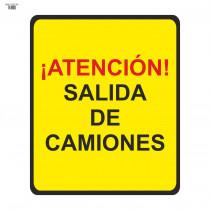 Señal Vial de Bolsa ¡Atención! Salida de Camiones 700 x 700 mm