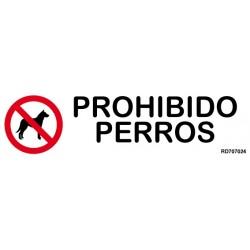 Informativa Prohibido Perros Acero Inoxidable Adhesivo de 0'8mm 50 x 200 mm