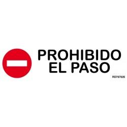 Informativa Prohibido El Paso Acero Inoxidable Adhesivo de 0'8mm 50 x 200 mm