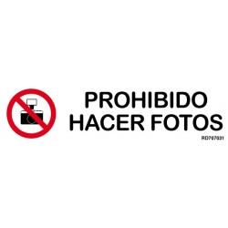 Informativa Prohibido Hacer Fotos Acero Inoxidable Adhesivo de 0'8mm 50 x 200 mm