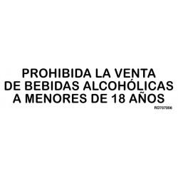 Informativa Prohibida La Venta de Bebidas Alcohólicas A Menores de 18 años Acero Inoxidable Adhesivo de 0'8mm 50 x 200 mm