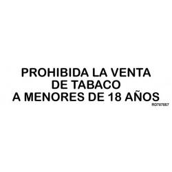 Informativa Prohibida La Venta de Tabaco A Menores de 18 años Acero Inoxidable Adhesivo de 0'8mm 50 x 200 mm