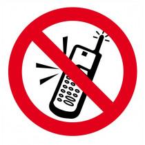 Señal Prohibido Usar Teléfonos Móviles Con Tintas UV Diámetro 90 mm (Pack de 10)