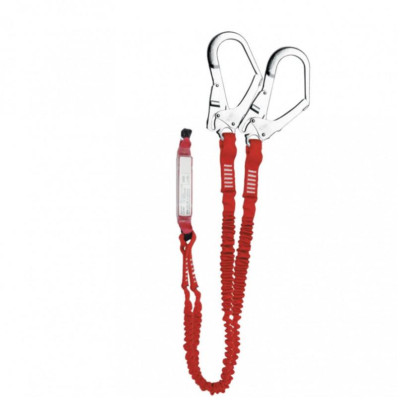 Elemento amarre doble cinta elástica con absorbedor energía y gancho 56mm - EN 354, EN 355 & EN 362 (ref. ABM+2LE101+2AZ022)