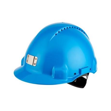 Casco azul, con sujeta-lámpara, arnés de ruleta y banda sudor plástico G3000 (20 cascos)
