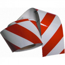 Cinta señalización (blanco/rojo) 0,14 x 45,7m derecha e izquierda 13050 (1 rollo dcha + 1 rollo izqda)