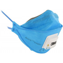 3M™ Aura™ Mascarilla FFP2 NR D c/válvula, azul, sin grapas 9422+ (120 mascarillas)