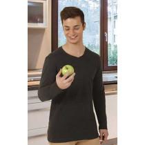 Camiseta unisex de manga larga recta y cuello en pico - George