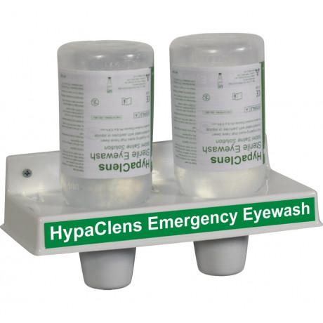 Estación lavaojos emergencia mural 2 botellas lavaojos de emergencia 500 ml lesiones mecánicas - Sol. salina estéril al 0,9% A08