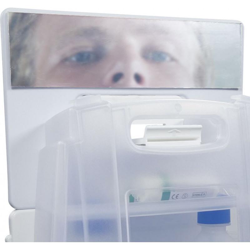 Estación 2 botellas lavaojos de emergencia 500 ml lesiones mecánicas y espejo - Sol.salina estéril al 0,9% - A10