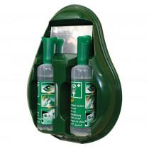 Estación mural con espejo 2 botellas lavaojos de emergencia 500 ml lesiones mecánicas - Solución salina estéril al 0,9% - A12