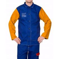Chaqueta Yellowjacket azul ignífuga con mangas en cuero