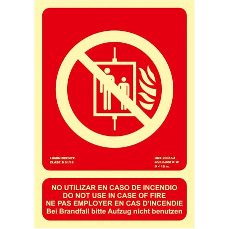 Señal No Utilizar En Caso de Incendio (4 Idiomas) Luminiscente