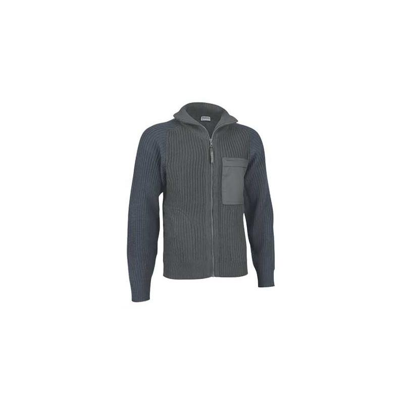 Chaqueta combinada con cuello alto y bolsillo, confeccionado en tejido de punto grueso y cálido (ref. FOREST)