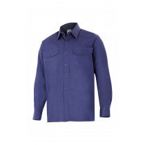 Camisa de algodón de manga larga (Azul marino) Serie 533