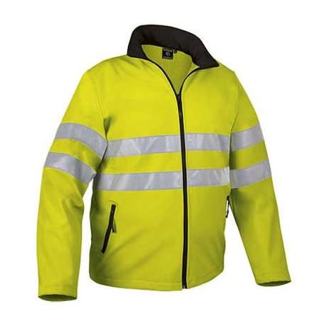 Chaqueta retroreflectante de alta visibilidad tejido técnico softshell tricapa, alta protección térmica (ref. SQUALL)