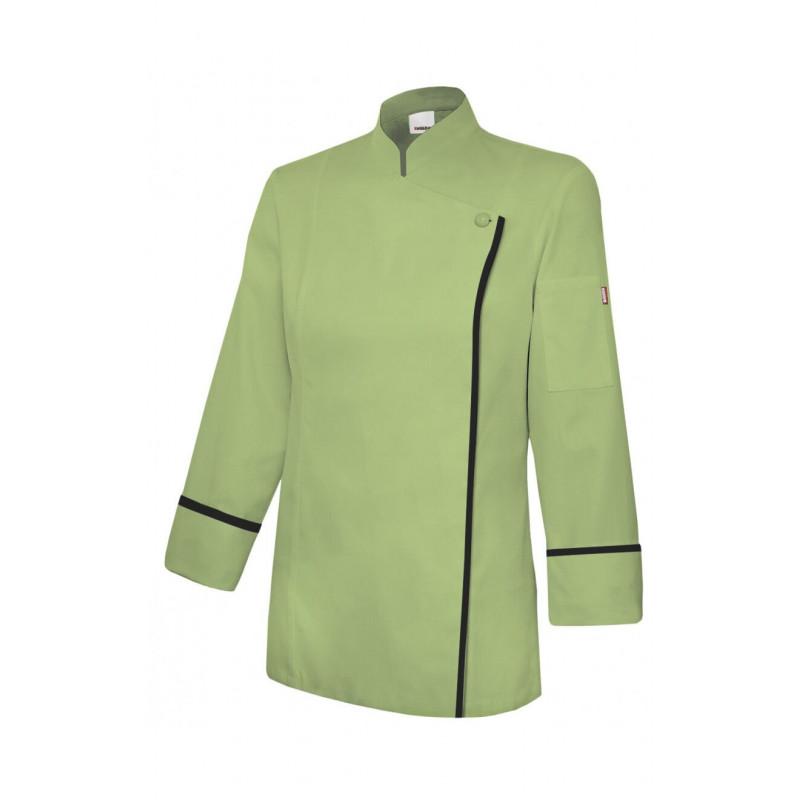 089748fc0a7 Chaqueta verde lima de cocina mujer con cremallera Serie P405203TC