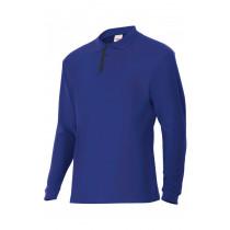 Polo azulina/rojo de manga larga bicolor Serie P105503