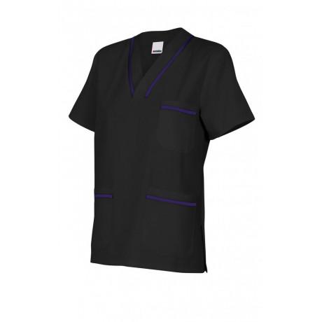Camisola pijama negra de manga corta Serie B589