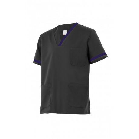 Camisola pijama negra de manga corta Serie P589