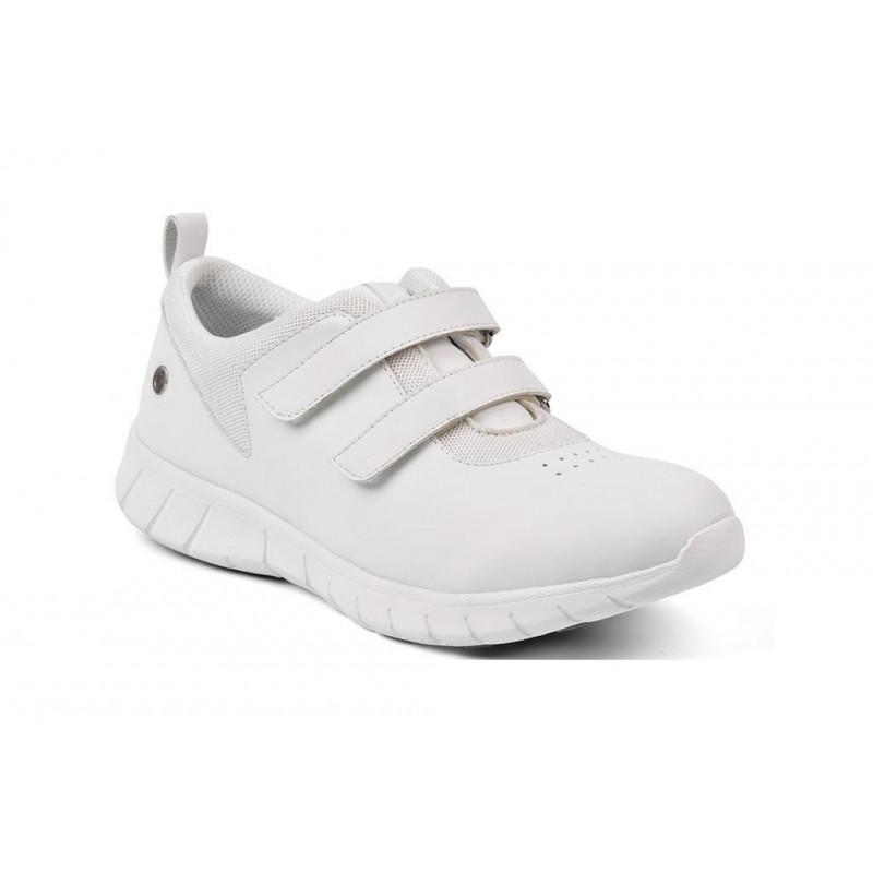 Calzado antideslizante Suecos ELIS con ajusete en velcro color blanco