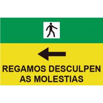 Señales Viales PVC Gallego Rogamos Disculpen Molestias Izq