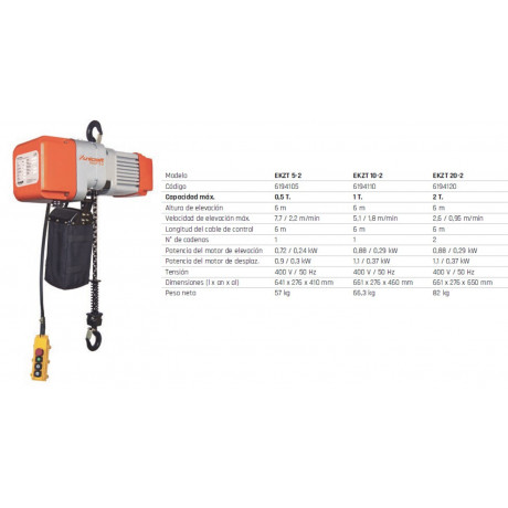 Polipasto eléctrico de cadena EKZT 10-2
