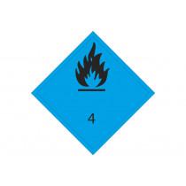 Señal adhesiva MATERIA PELIGROSA: CONTACTO AGUA DESPRENDE GAS FLAMABLE