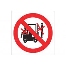 Señal prohibido solo pictograma - Prohibido personas en carretillas
