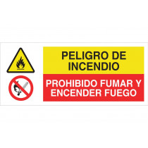 Señal combinada PELIGRO DE INCENDIO - PROHIBIDO FUMAR Y ENCENDER FUEGO