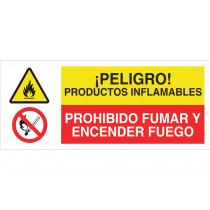 Señal combinada PELIGRO PTOS INFLAMABLES - PROHIBIDO FUMAR Y Enc FUEGO