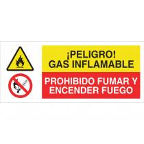 Señal combinada RIESGO GAS INFLAMABLE - PROHIBIDO ENCENDER FUEGO