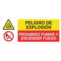 Señal combinada ATENCIÓN PELIGRO EXPLOSIÓN - PROHIBIDO ENCENDER FUEGO