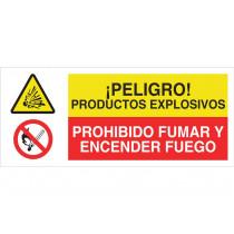 Señal combinada PELIGRO PRODUCTOS EXPLOSIVOS - PROHIBIDO FUMAR
