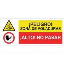 Señal combinada ATENCIÓN PELIGRO VOLADURAS - ALTO NO PASAR
