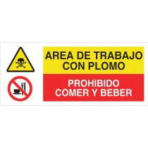 Señal combinada PELIGRO ÁREA TRABAJO CON PLOMO - PROHIBIDO COMER BEBER