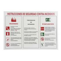 Señal informativa de instrucciones de seguridad contra incendios