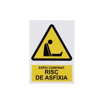Señal en catalán: Senyals d'advertència -Espai confinat risc d'axfixia